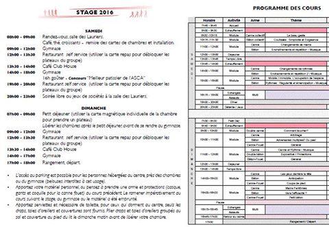 Planning du stage ASCA 2016