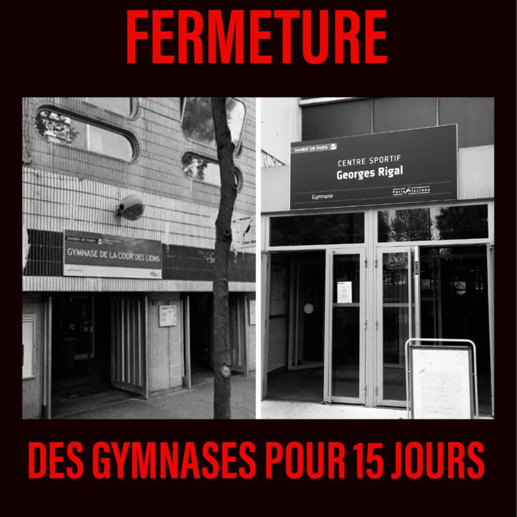 Fermeture des gymnases parisiens jusqu'au 9 octobre